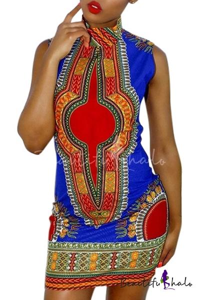 Buy Women African Print Dress Casual Straight Bohemia Sleeveless Mini Dresses