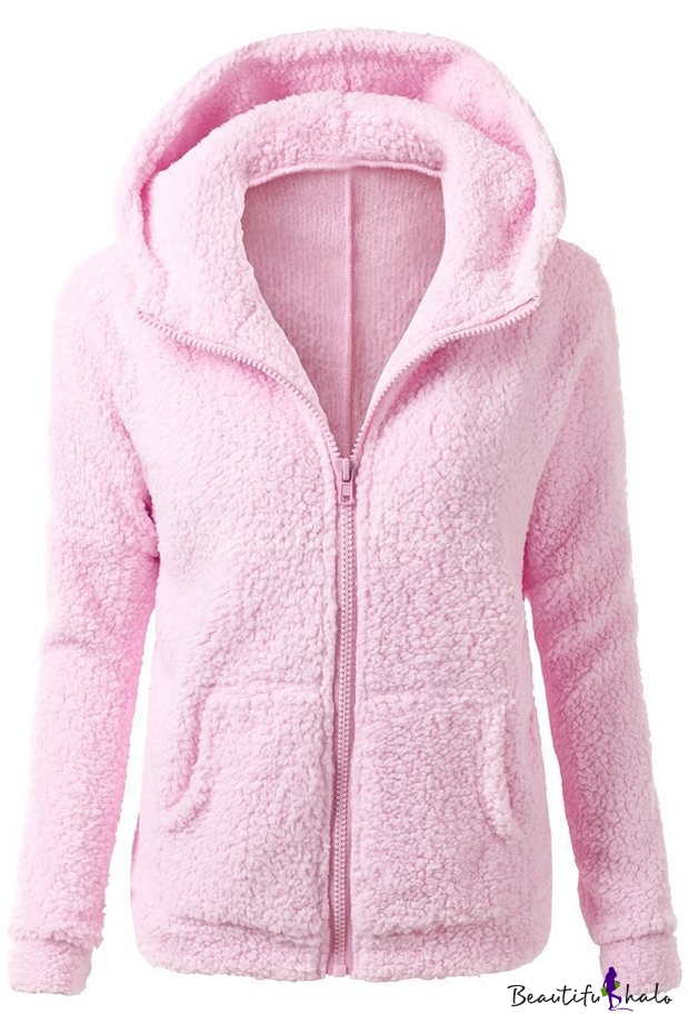 Buy Women's Fashion Hooded Zip Placket Long Sleeve Winter's Fur Coat