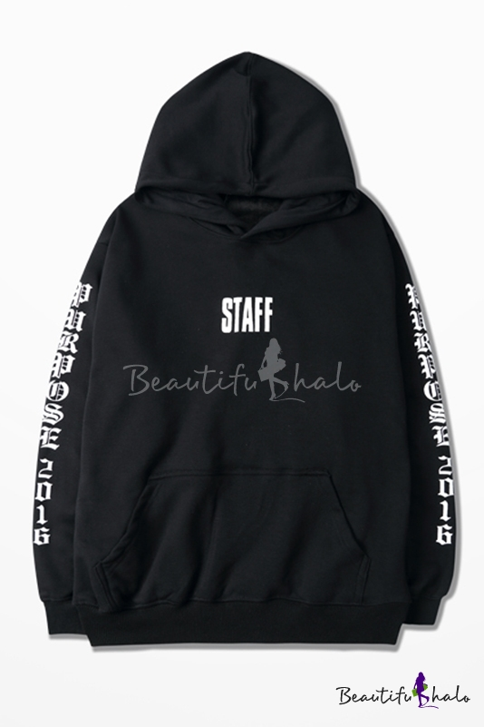 Buy Fashion Hooded STAFF Letter Printed Couple Hoodie Sweatshirt