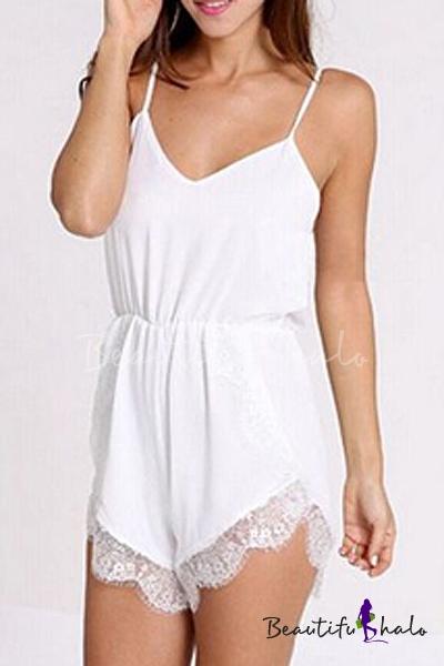 Buy Women's Lace Chiffon Sleeveless Jumpsuit Rompers