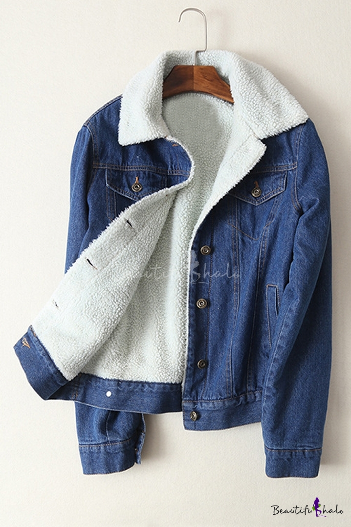 Buy Contrast Lapel Single Breasted Long Sleeve Lamb Wool Denim Coat