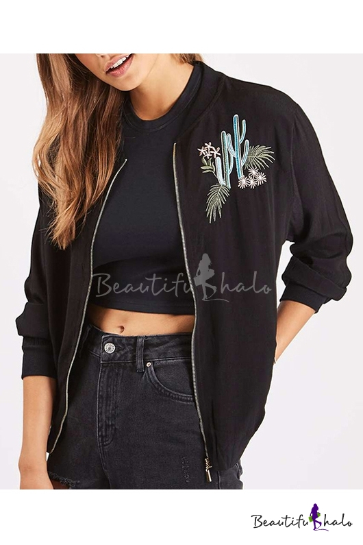 Buy Fashion Embroidery Cactus Zipper Placket Stand-Up Collar Long Sleeve Bomber Jacket