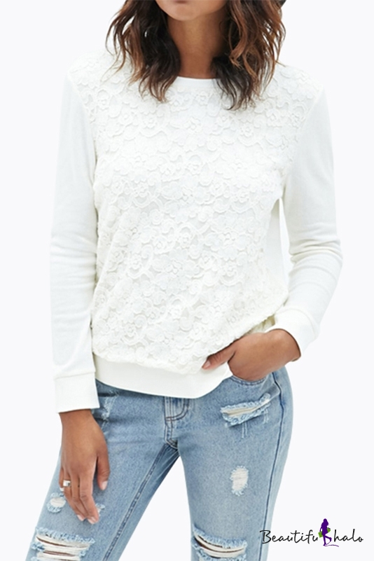 Buy Design Floral Lace Patched Round Neck Long Sleeve Sweet Sweatshirt