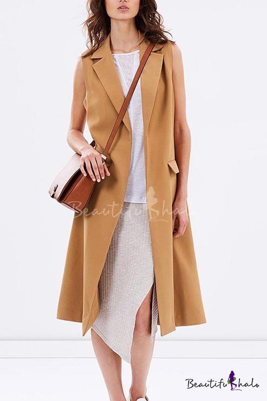 Buy Stylish Sleeveless Notched Lapel Open Front Plain Tunic Blazer