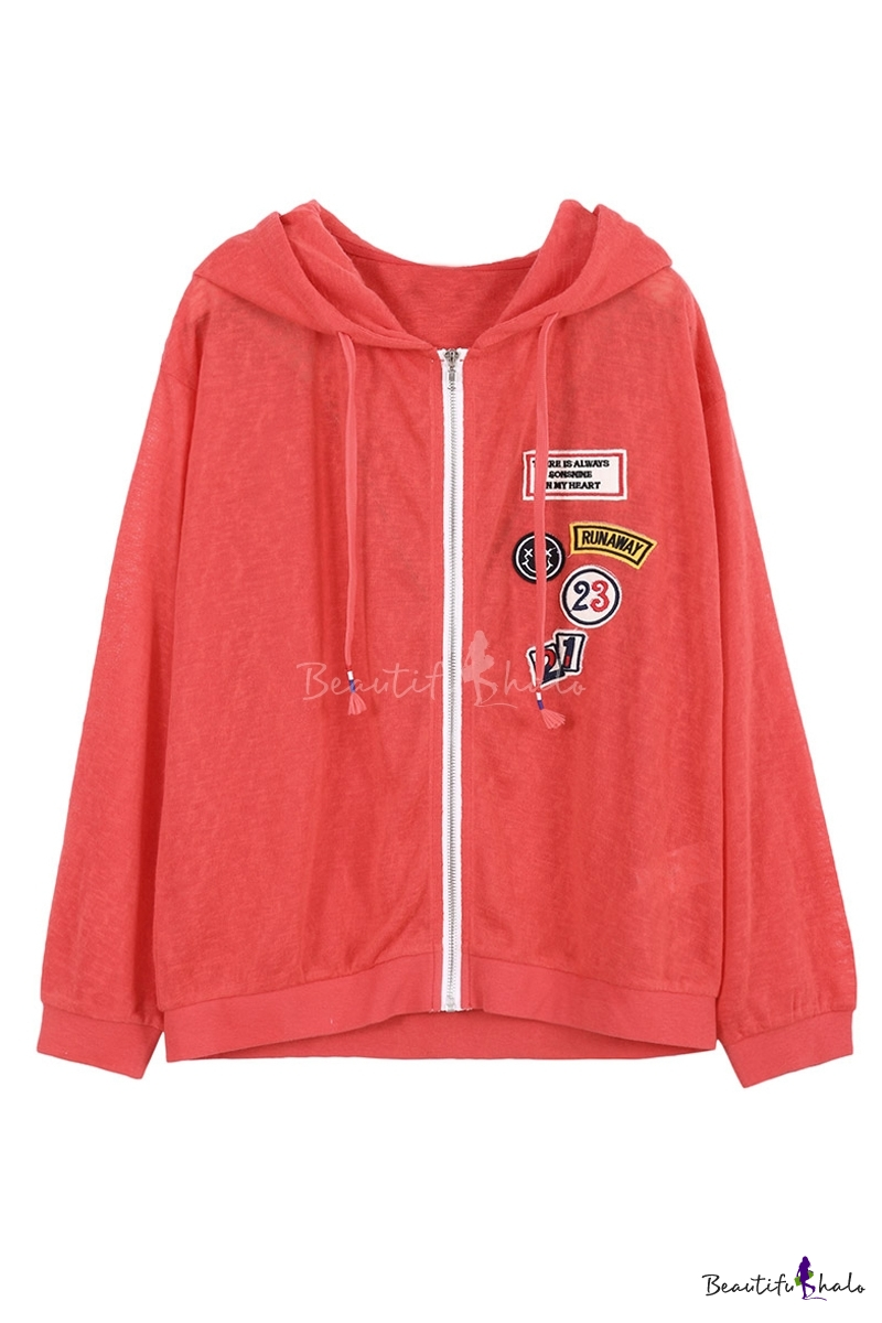 Buy Style Hooded Zip Placket Long Sleeve Letter Number Patched Casual Coat