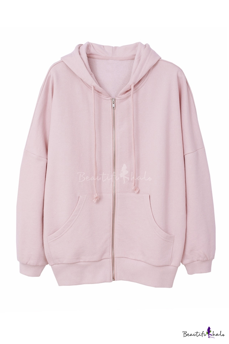 Buy Plain Drawstring Hooded Zipper Placket Long Sleeve Coat Two Pockets