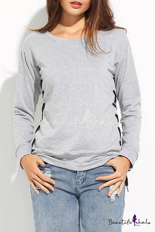 Buy Women's Raglan Sleeve Round Neck Casual Plain Sports Sweatshirt Side Lace-Up