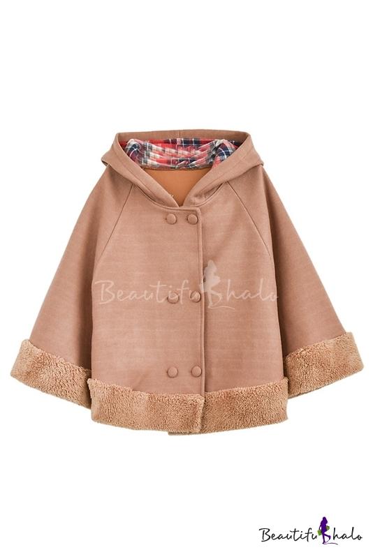 Buy Cute Bear Ear Hooded Raglan Batwing Sleeve Double Breasted Cape Wool Coat