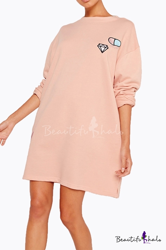 Buy Women's Fashion Casual Loose Round Neck Long Sleeve Embroidered Sweatshirt Dress