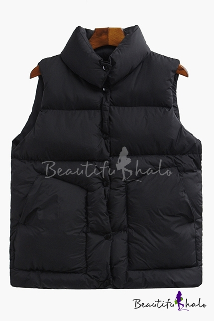 Buy Fashion Lapel Single Breasted Sleeveless Plain Vest Padded Coat