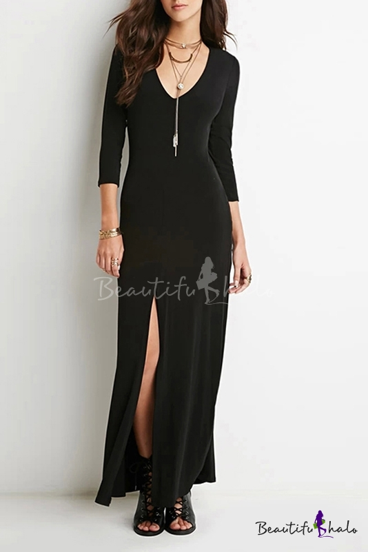 Buy Sexy Plunge V-Neck 3/4 Length Sleeve Split Front Plain Maxi Dress
