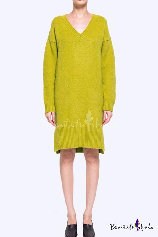 Buy V-Neck Dropped Long Sleeve Split Hem Plain Sweater Dress