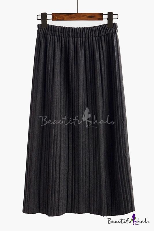 Buy Popular Elastic High Waist Plain Maxi Pleated Skirt
