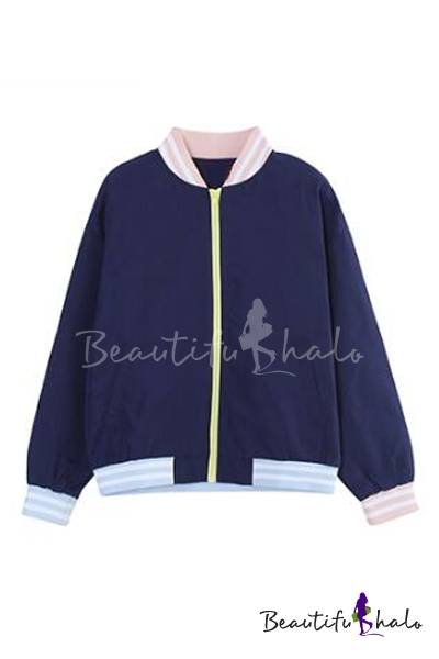 Buy Style Tassel Sleeve Zipper Placket Stand-Up Collar Color Block Bomber Jacket