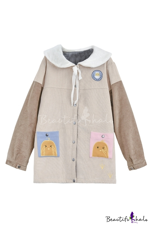 Buy Single Breasted Lapel Contrast Long Sleeve Embroidery Cartoon Pattern Tunic Coat Two Pockets