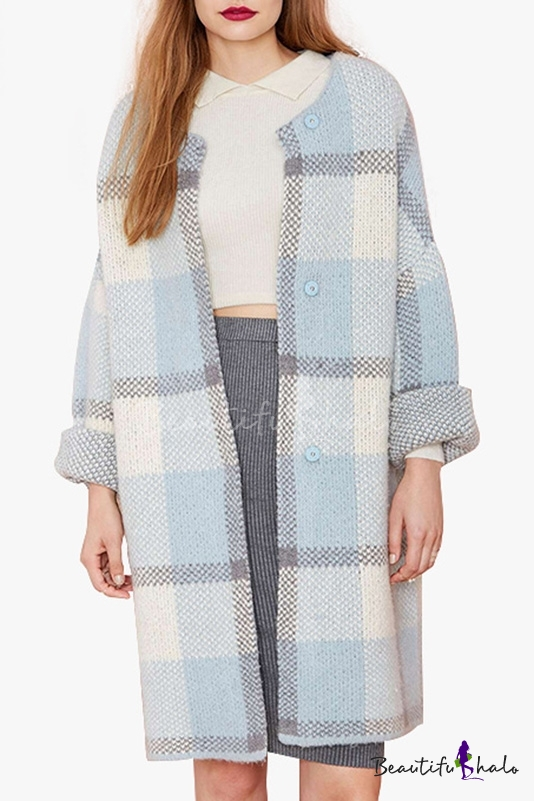 Buy Plaid Color Block Single Breasted Long Sleeve Collarless Tunic Coat
