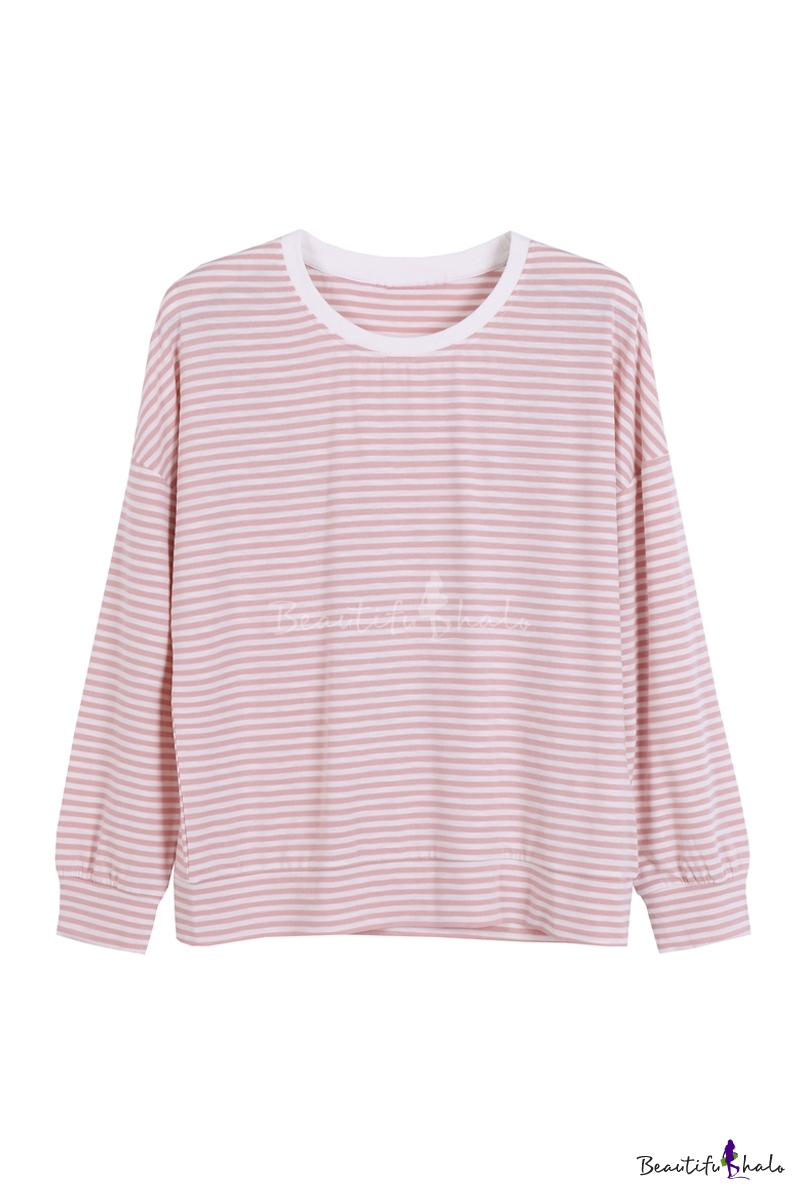 Buy Fashion Round Neck Long Sleeve Striped Print Casual Loose Tee