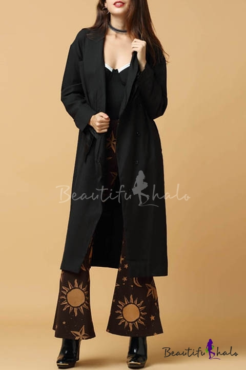 Buy Women's Fashion Lapel Single Button Long Sleeve Plain Tunic Coat
