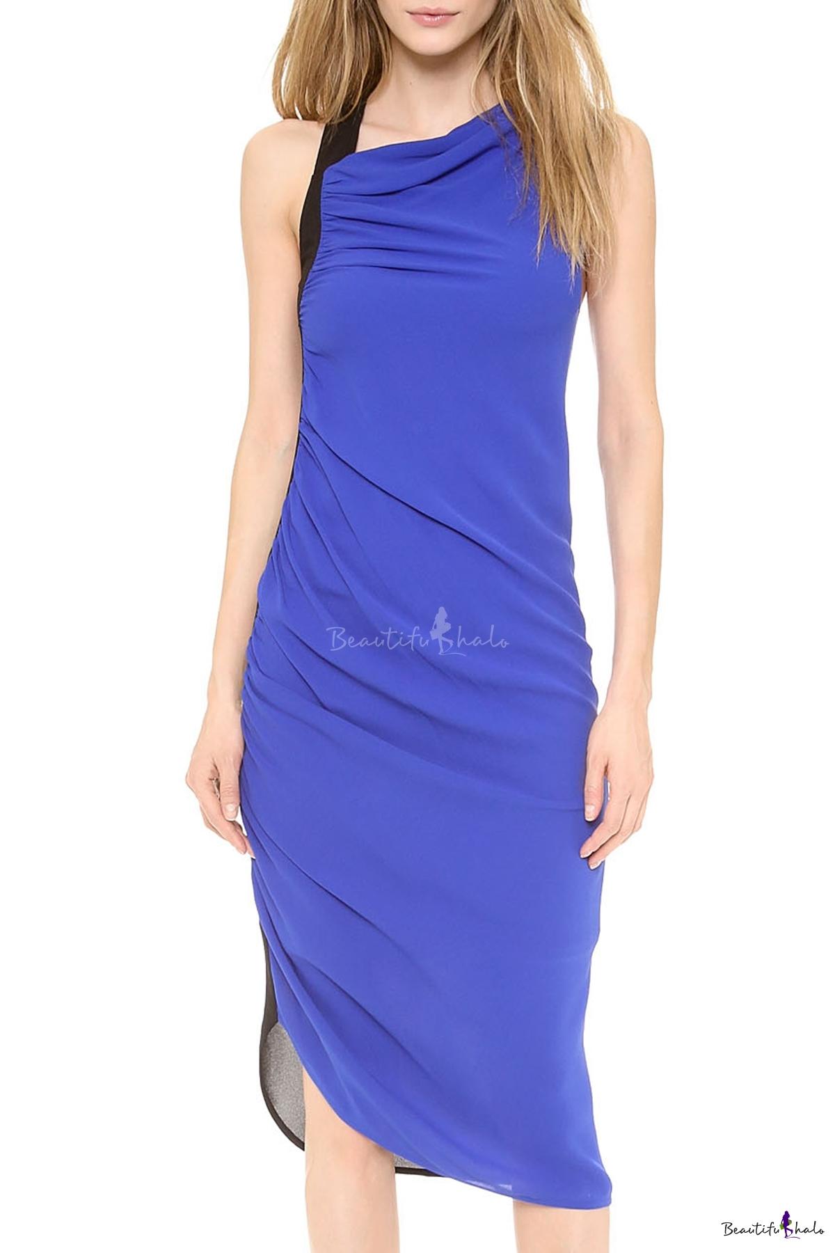 Buy Stylish Color Block Sleeveless Ruched Racer Back Asymmetric Hem Midi Dress