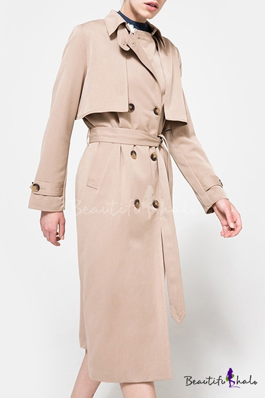 Buy Chic Double Breasted Belt Waist Notched Lapel Patchwork Plain Coat