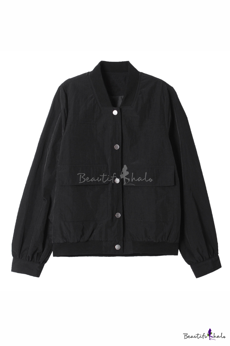Buy Single Breasted Stand-Up Collar Long Sleeve Plain Bomber Jacket