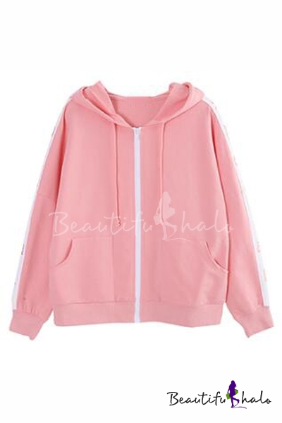 Buy Embroidery Letter Long Sleeve Zipper Placket Drawstring Hooded Coat