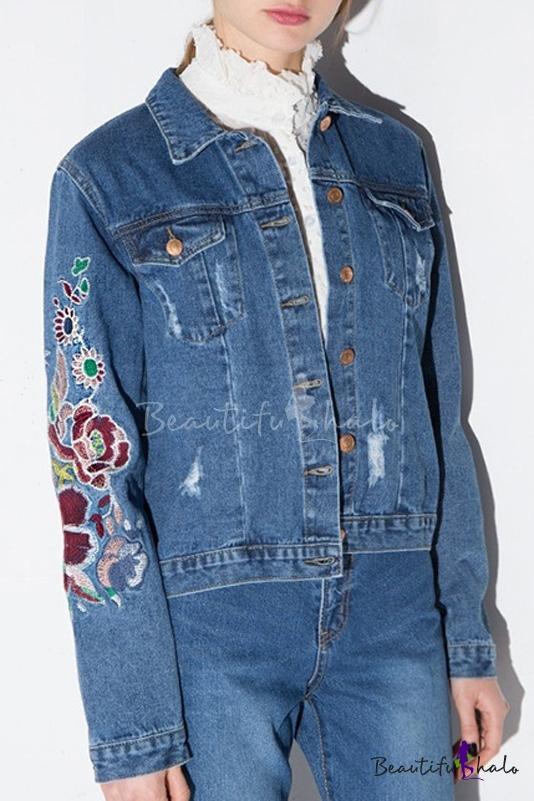 Buy Retro Style Embroidery Floral Single Breasted Lapel Ripped Denim Jacket Two Pockets