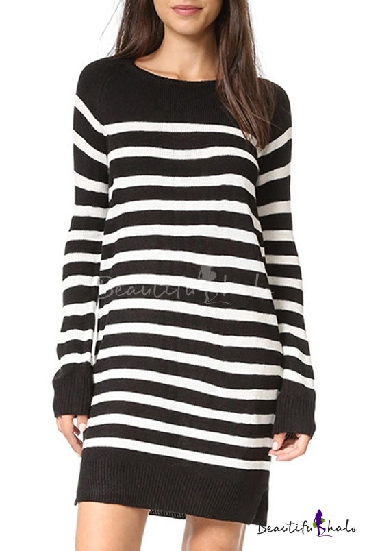Buy Striped Color Block Round Neck Long Sleeve Mini Knitted Dress
