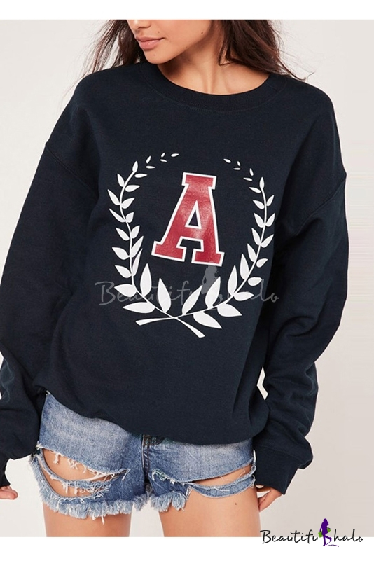 Buy Women's Round Neck Letter Print Long Sleeve Casual Basic Sports Sweatshirt