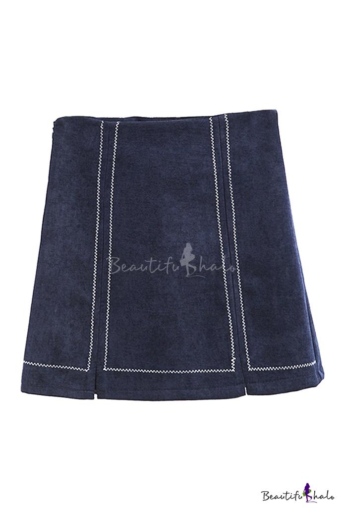 Buy Women's Chic Zip Side High Waist Mini A-Line Skirt Seamed Detail