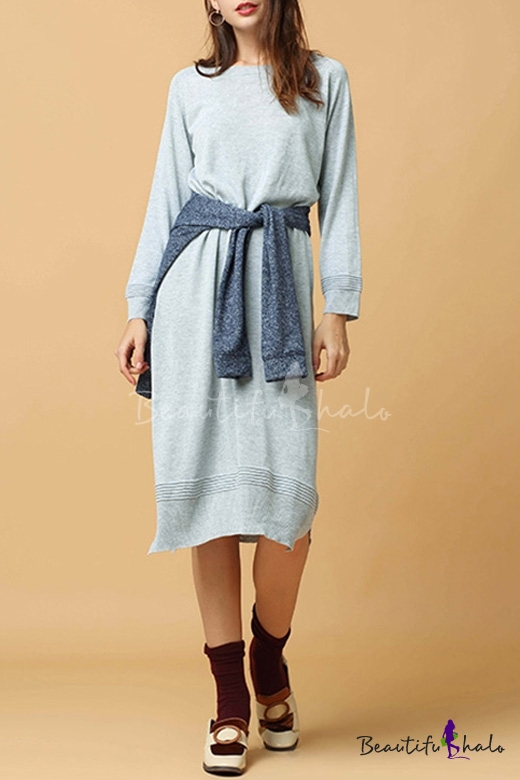 Buy Fashion Split Side Hem Long Sleeve Round Neck Plain Midi Sweater Dress