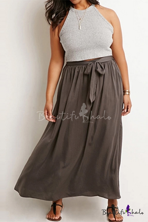 Buy Boho Style Plain Tied Waist Maxi A-Line Skirt