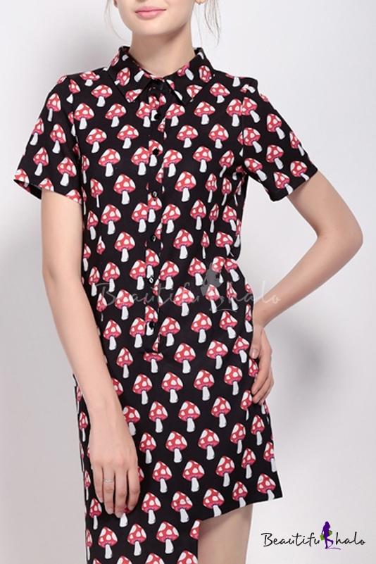 Buy Cute Mushroom Printed Lapel Single Breasted Short Sleeve Asymmetric Hem Shirt Dress