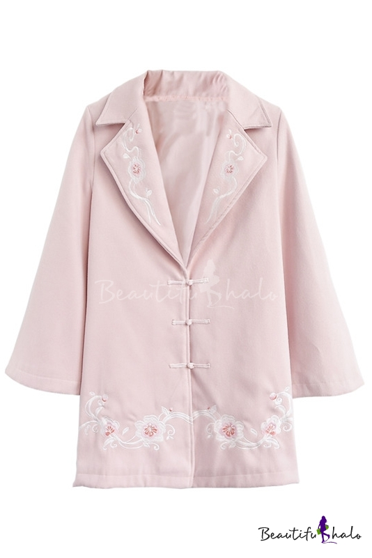 Buy Embroidery Floral Notched Lapel Single Breasted Long Sleeve Tunic Coat