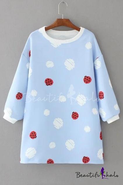 Buy Cute Contrast Beatles Printed Polka Dots Long Sleeve Round Neck Mini Dress
