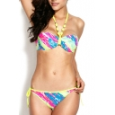 Palm Print Jeweled Strap Tie Back Bandeau Bikini Set