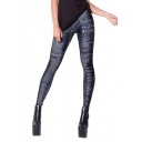 Black Letters Print Full Length Elastic Leggings