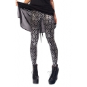 Silver Color Floral Space Pattern Skinny Treggings