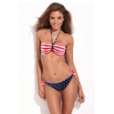 Stars and Stripes Print Halter Bandeau Bikini Set