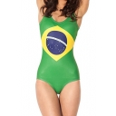Flag of Brazil Print Scoop Neck One Piece Swimsuit