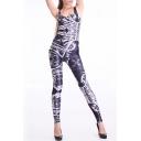Digital Print Sleeveless Scoop Neck Skinny Jumpsuits