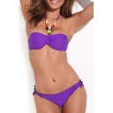 Purple Jeweled Bandeau Top with Low-rise Bikini Bottom