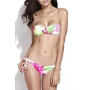 Floral Print V-wire Bandeau Top with Tie Side Bikini Buttom