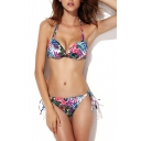 Tropical Floral Print Tie Back Bikini Set