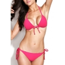 Watermelon-red Triangle Bikini Set with Adjustable Front Tie
