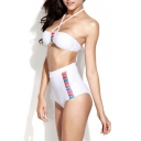 White Cut Out High Waist Bandeau Bikini Set