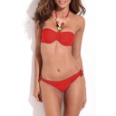Red Jeweled Halter Neck Bandeau Bikini Set