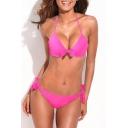 Red Knotted Tie Back Halter Bikini Set