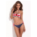 Flag Print Tie Back Halter Bikini Set
