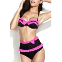 Ruffle Trim Bow Front Hight Waist Bikini Set